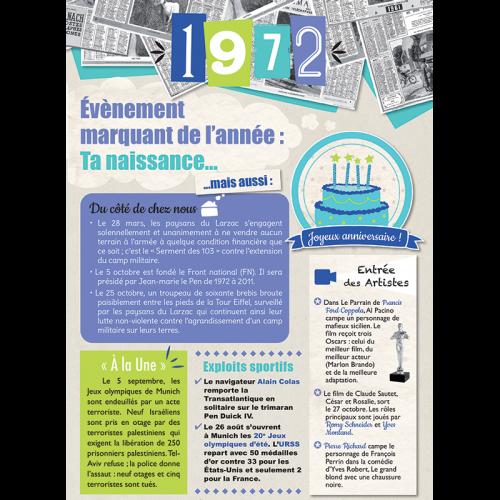 Carte anniversaire 1972